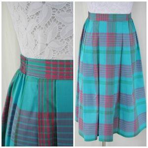 Vintage Teal Plaid Skirt - XS/S